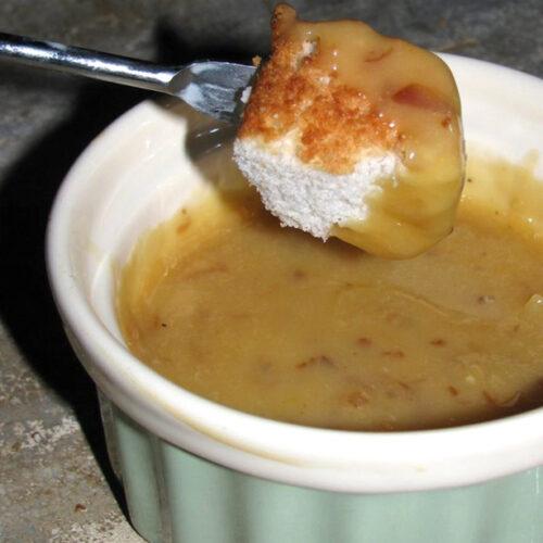 Cake Fondue with Angel Food Cake Bite