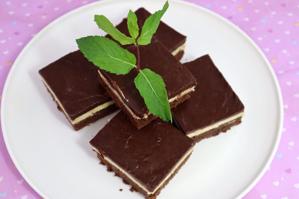 Yummy Fresh Mint Brownies with Fresh Mint Leaves