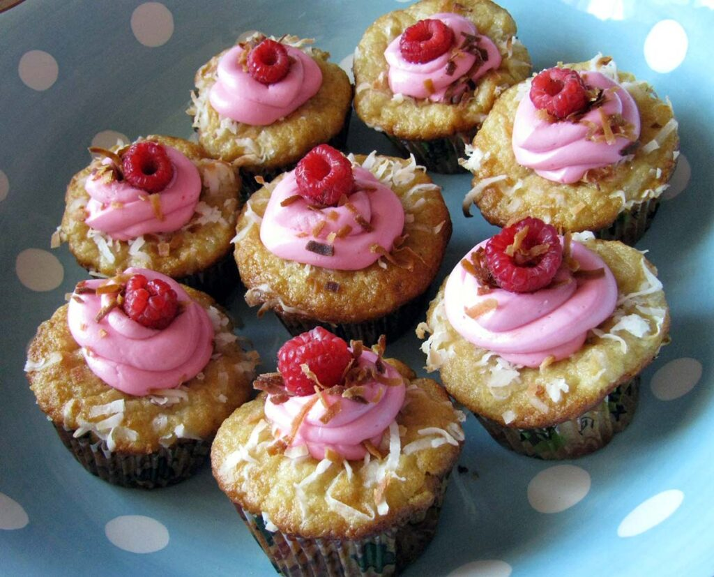 Plate full of raspberry cupcakes