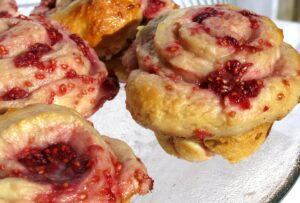 Make This Satisfy Honey Buns Recipe Even Better with Raspberries and Creamed Honey