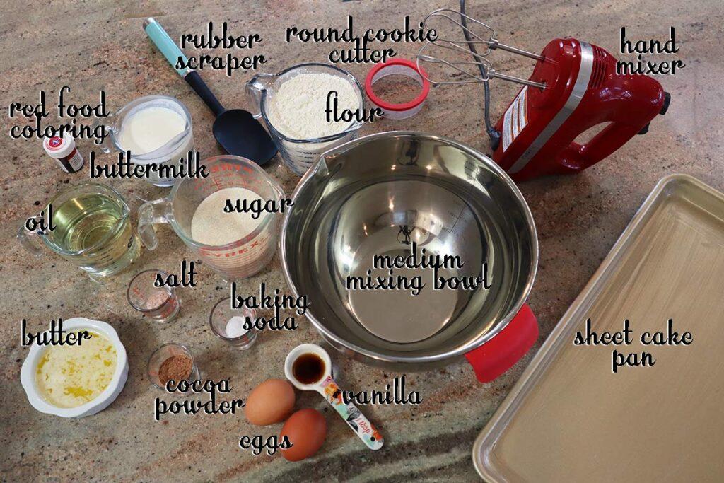 Ingredients for mini red velvet cakes