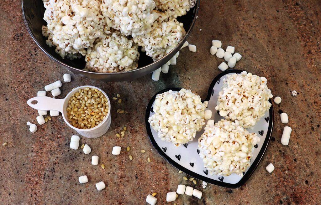Lots of Marshmallow Caramel Popcorn Balls