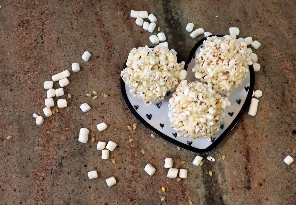 Popcorn balls on a plate