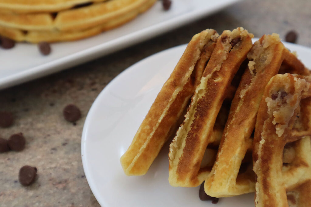 Cookie Dough Waffle Triangles