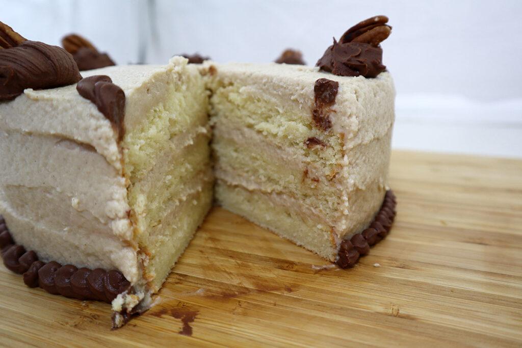 White Velvet Cake with Maple Cinnamon Swiss Meringue Buttercream and Chocolate Ganache