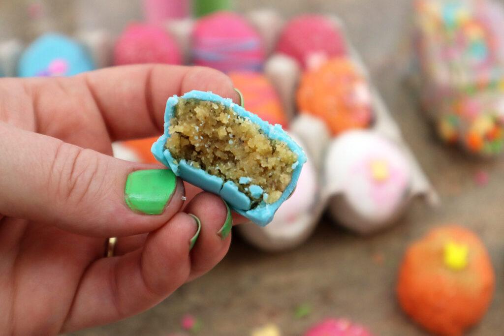 Bite of a Blue Banana Cake Easter Egg Cake Bite