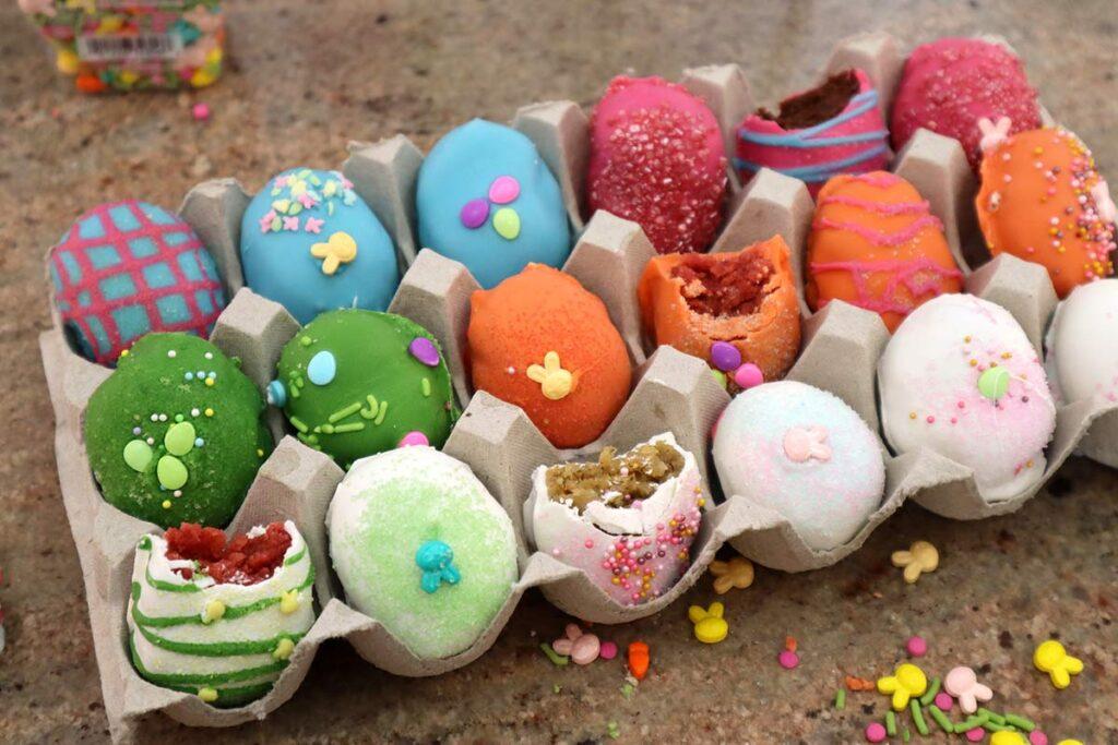 Easter Egg Cake Bites Partially Eaten