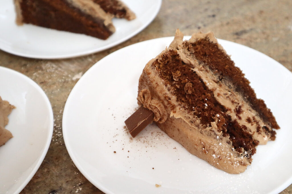 Slice of Chocolate Cake with Lindt Chocolate