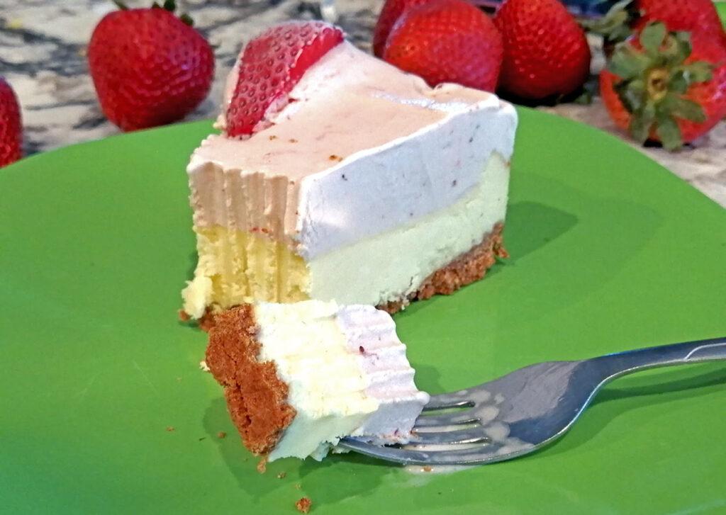 Slice of Strawberry Ice Cream Cheesecake