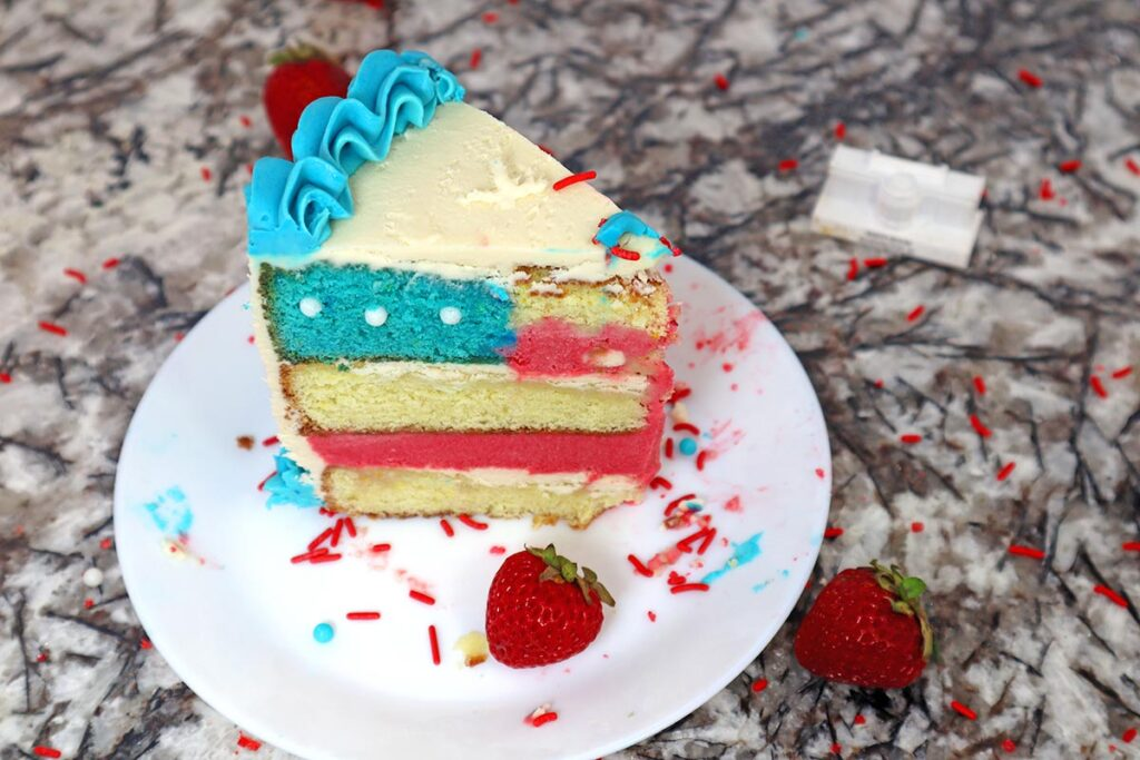 Slice of Red White and Blue USA Flag Cake