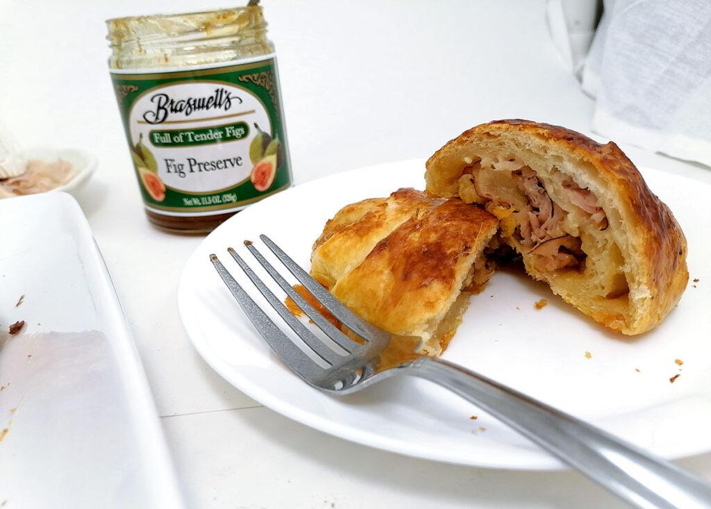 Cut up croissant sandwich