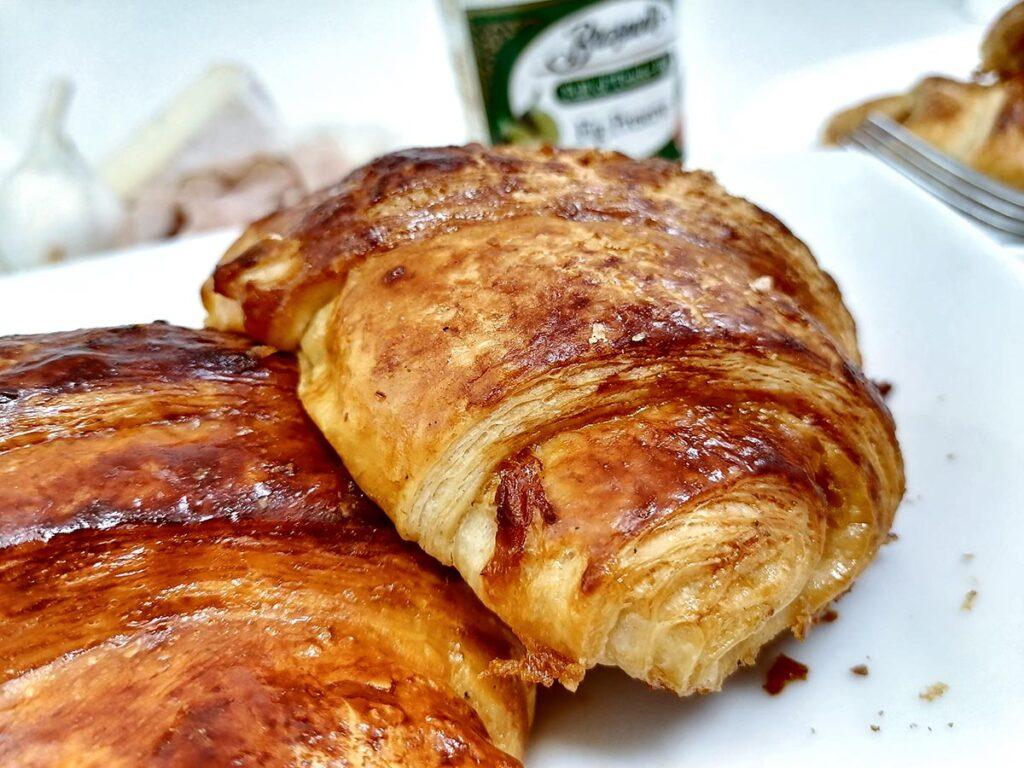 baked brie croissants closeup