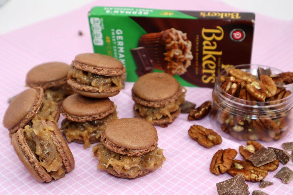 German Chocolate Macarons