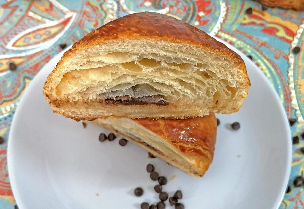 Pain au Chocolat Recipe Cut Open inside Croissant