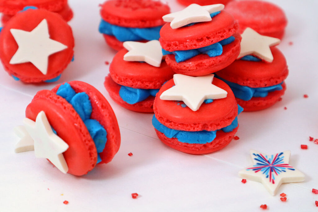 Red White and Blue Macarons
