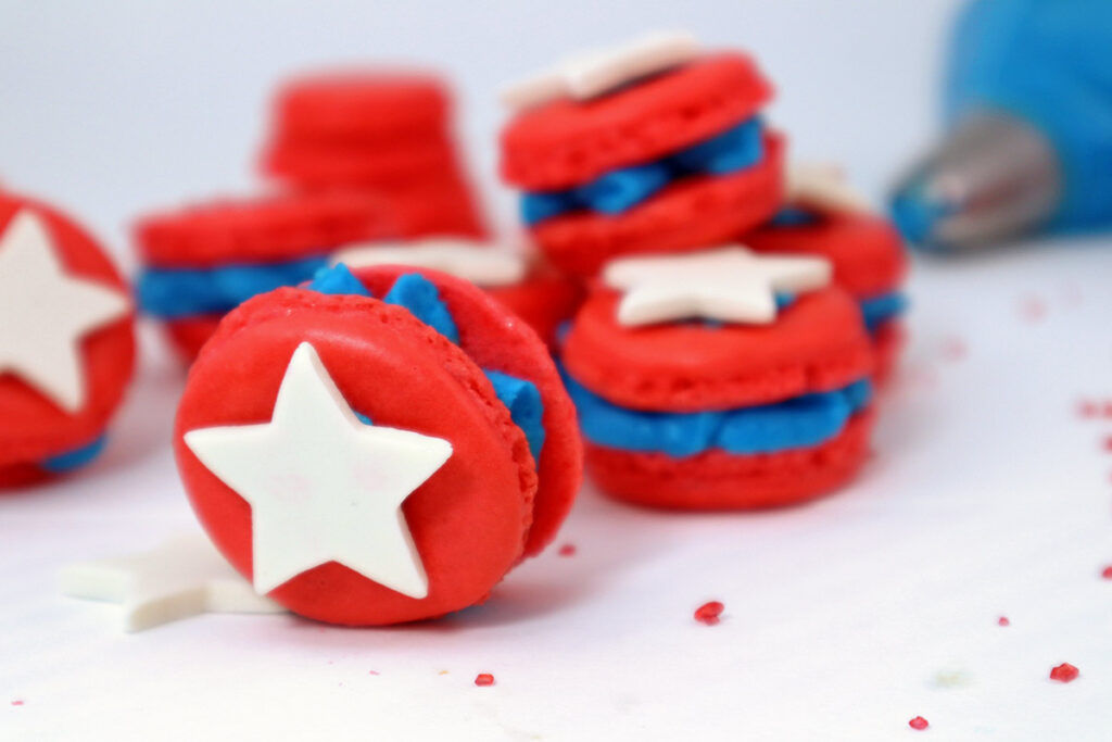 The Perfect Time of Year for Red, White and Blue Macarons {Happy Birthday America!}
