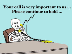 Skeleton on hold with customer service