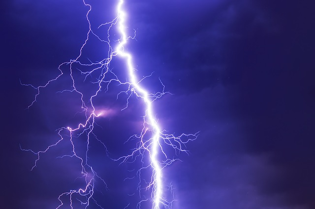 photo of a lightning strike and is used on the website to illustrate the NOAA Public Alert Radio and the need for surge protecctors