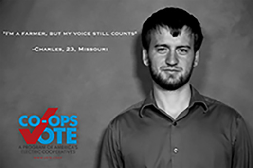 Photo of a man with the Co-Ops Vote logo