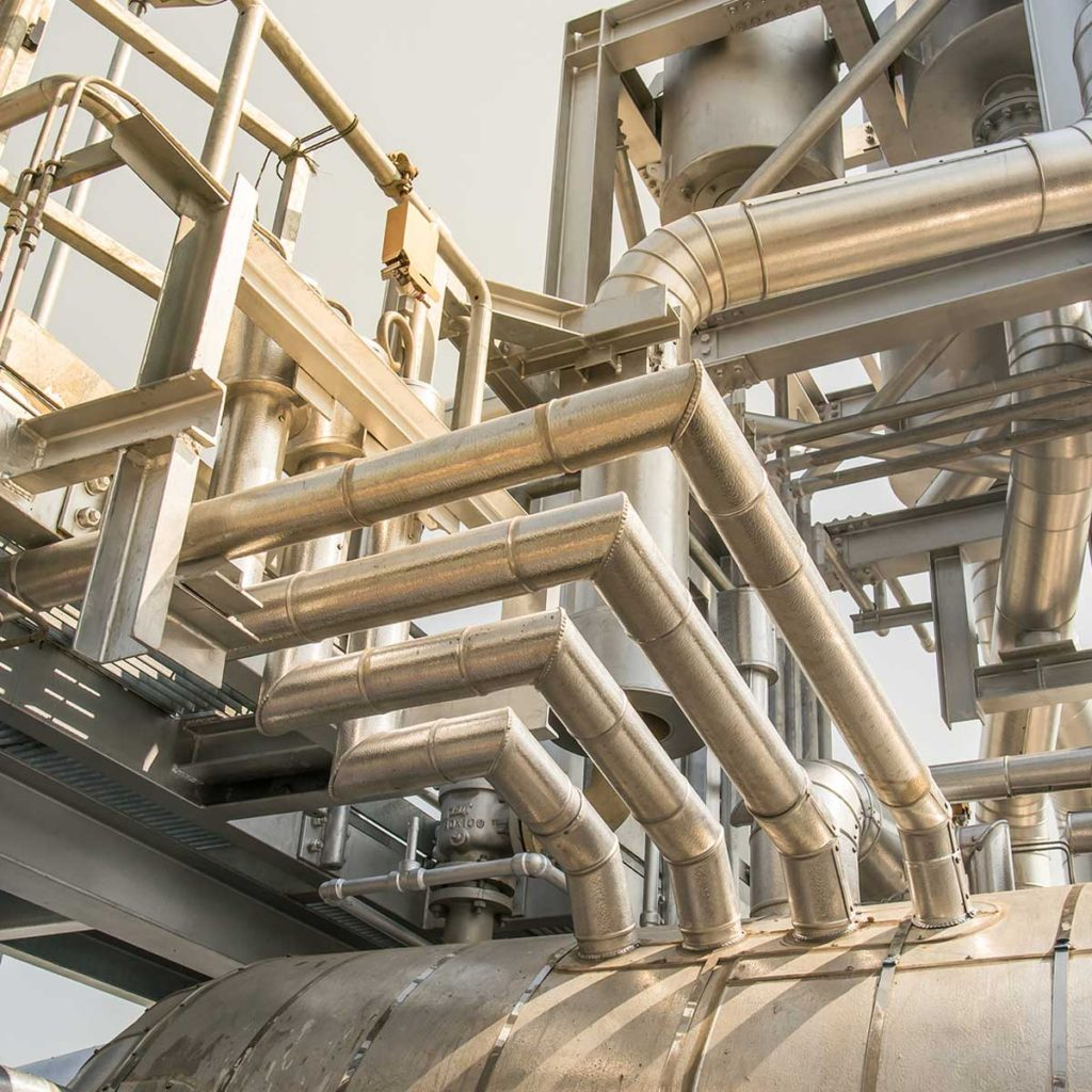 Industrial applications of thermal pre-insulated pipe.