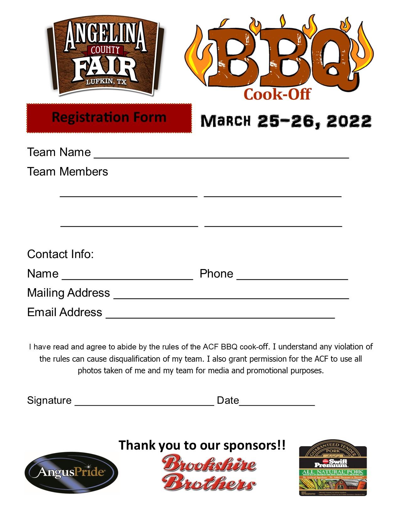 BBQ cookoff registration form
