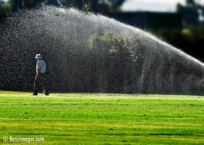 man and sprinkler