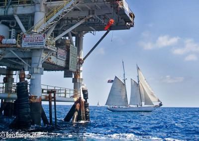 sailboat at platform gina