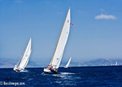 two tacking sailboats