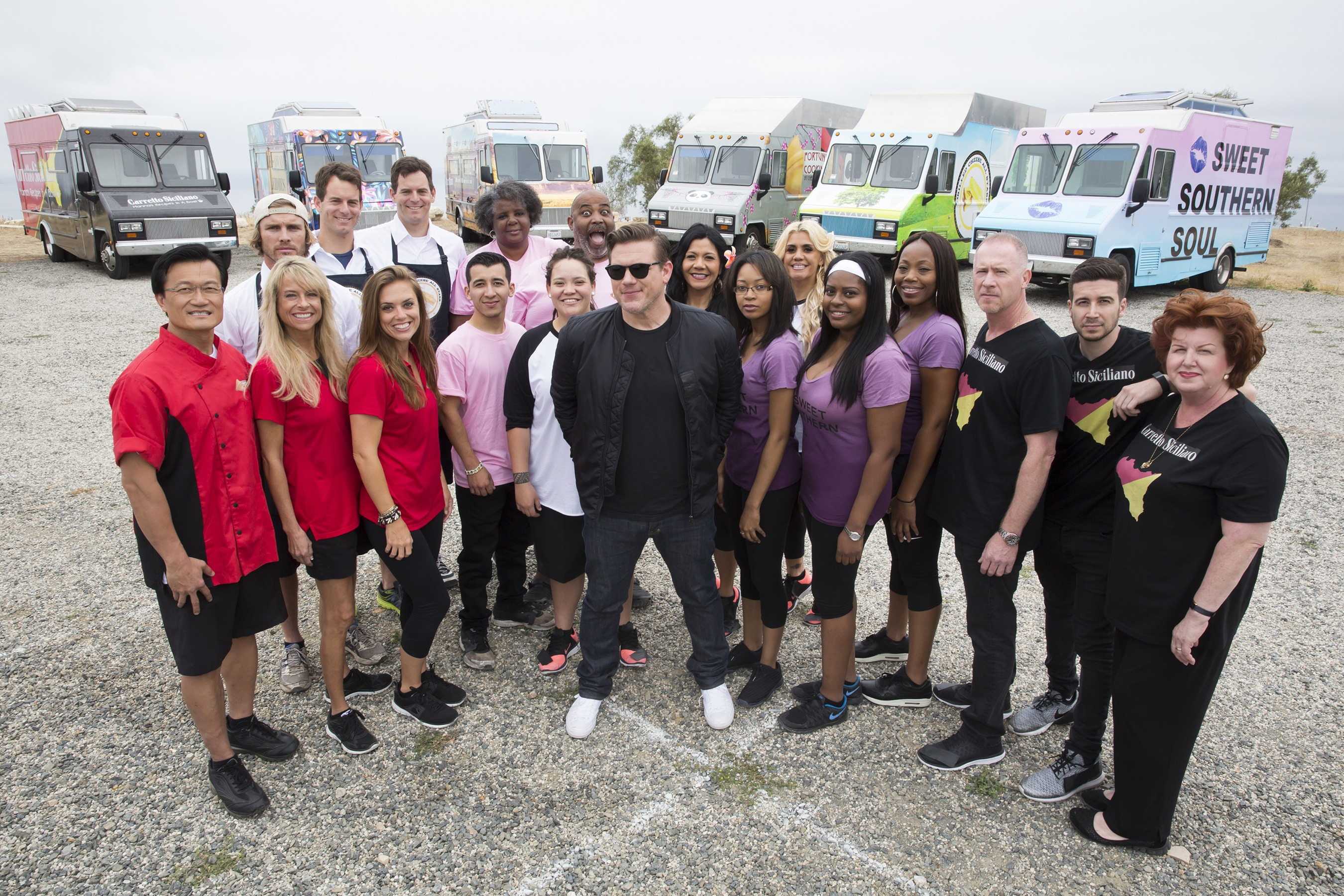 Host Tyler Florence with the teams of Food Network's The Great Food Truck Race