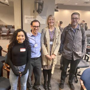 Apurva Chitre, Abraham Palmer, Clarissa Parker, and Camron Bryant, at NIDA Genomic Consortium Meeting, January 2020