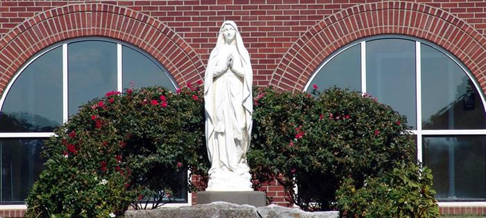 Mother Mary in front of Saint Andrews Catholic Church Harrodsburg, Kentucky