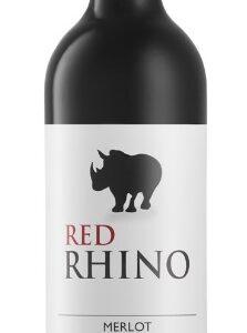 A Red Rhino Merlot bottle