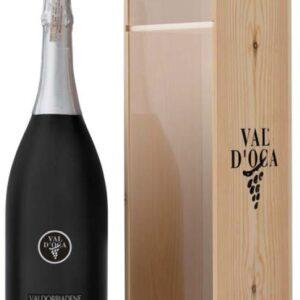 A Millesimato DOC Spumante Brut Black Bottle NV with a box