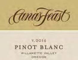 A Cana's Feast Pinot Blanc label
