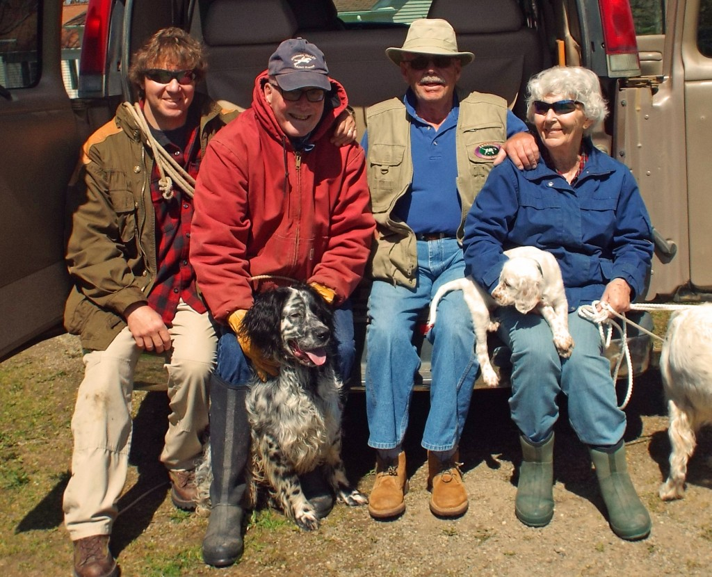 """Training our Llewellins on a beautiful day in PA. That's me on the left, Doug with his boy, Keith & Tessa Smith (with their new pup """"Lance"""", out of our Mike & Gracie's last litter)."""