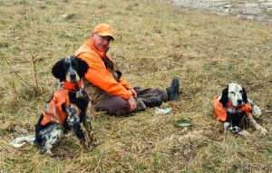 Jim taking a breather with his boys; Riggs and Rudy. In the mountains of PA.