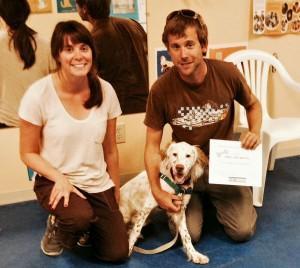 "Caitin with her boy ""Finn"" in NC. Puppy school graduation day!"