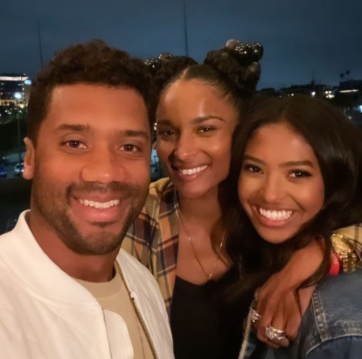 Ciara and Russel Wilson with Natalia for her high school graduation