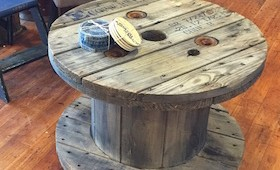 Repurposed Wooden Spool Coffee Table