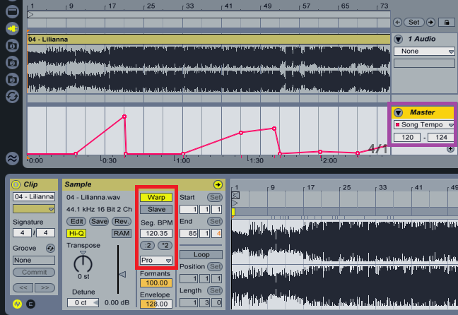 Varying a tempo track in Ableton Live is like working with any kind of automation.