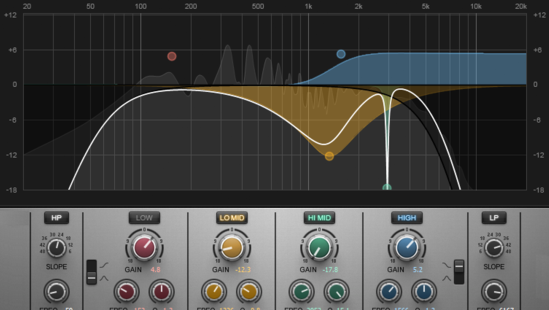 This image shows the EQ curves used to create a custom cabinet sound.