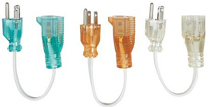 Short AC cord extenders allow connecting multiple transformers to standard barrier strips.