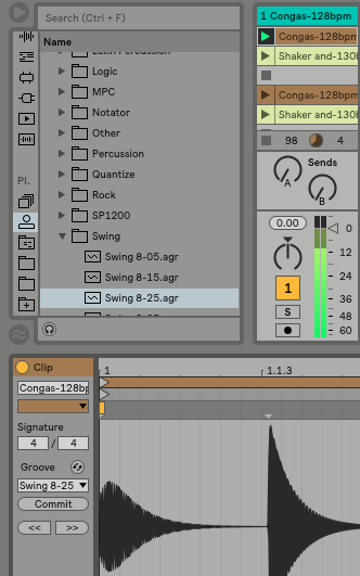 Ableton Live makes it easy to apply grooves to clips for different feels—drag and drop the groove from the browser on top of a clip.