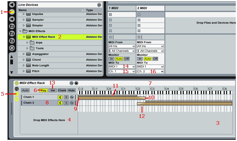 Live's Rack feature makes it easy to do splits, layers, and othe MIDI keyboard routings.