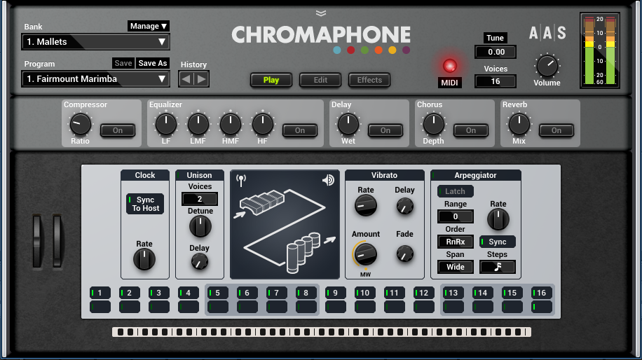The Play page takes on particular importance because of A|A|S's proclivity toward including MIDI learn. Being able to control all these parameters from a keyboard controller with lots of assignable faders allows for cool live performance playability.