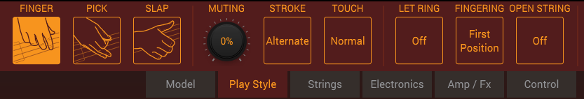MODO Bass Play Style buttons add human touches.