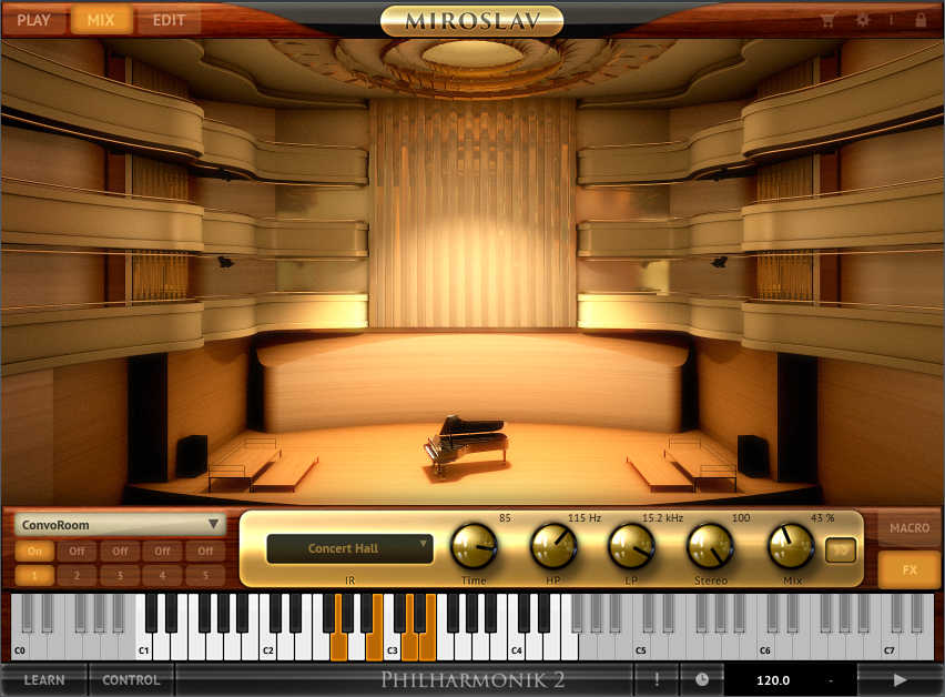 Miroslav Philharmonik 2 creates four acoustic environments through convolution reverb. This shows the space used for the concert hall algorithm.