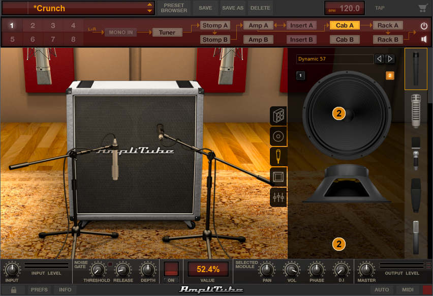 Dual virtual mics can choose among multiple mic models, miking positions, cabinets, and even speakers to create the sound of recording an amp in the studio.
