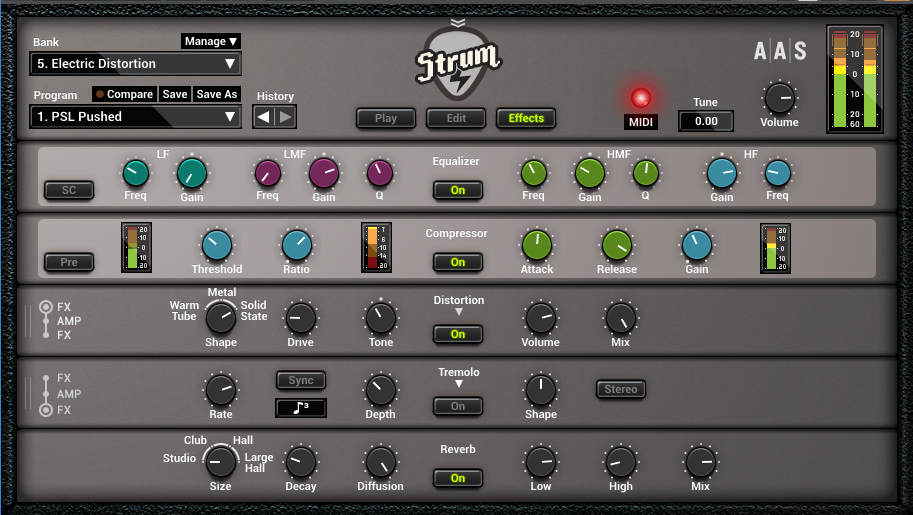 The Strum GS-2 effects page provides guitar-friendly effects like an equalizer, compressor, distortion, tremolo, and reverb.