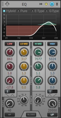 Rolling off the low end and boosting the high frequencies allows hi-hats to shine.